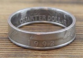 Example of a clad (non-silver) Washington Quarter coin ring.
