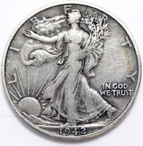 A Walking Liberty Half Dollar in good condition.