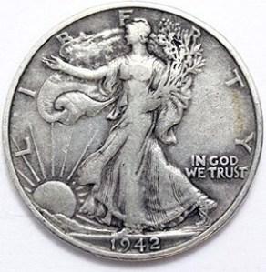 A Walking Liberty Half Dollar in good condition.